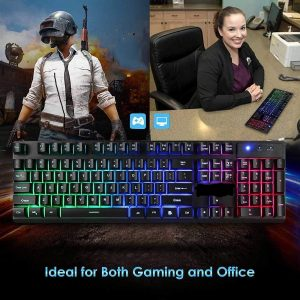 Wired Backlit Floating Gaming Keyboard, Mechanical Feeling Rainbow Illuminated Gaming Keyboard